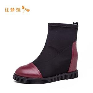 红蜻蜓圆头拼接低跟舒适休闲时尚女靴子