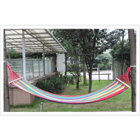 彩虹条帆布户外双人吊床 带木棍加宽加厚帆布吊床承重150KG
