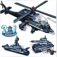 全店满99包邮!邦宝 3合1军事阿帕奇战机 益智拼插拼装积木塑料 男孩玩具6岁以上