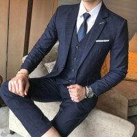 青年潮胖加大码商务男士格子西装马甲西裤三件套修身夜场伴郎制服