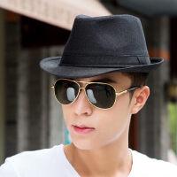 韩版潮爵士帽男士亚麻帽子 新款沙滩帽遮阳草帽 英伦绅士礼帽休闲帽子