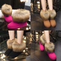 磨砂仿狐狸毛雪地靴加绒加厚棉鞋女鞋休闲保暖短筒靴