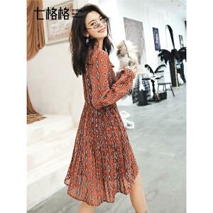 七格格雪纺印花长袖连衣裙秋装女新款气质女神范衣服收腰遮肚子裙子
