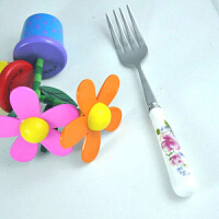韩式陶瓷柄不锈钢餐具玫瑰之约餐叉 西餐水果叉 厨具开瓶器抽果器
