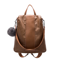 双肩包女韩版2018新款潮真皮牛皮时尚百搭英伦书包两用包软皮背包 棕色 已审核是牛皮