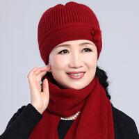 中老年人女士秋冬针织毛线帽冬天奶奶老人帽子中年妈妈帽围巾