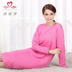 康妮雅2015冬季新款夹棉睡裙 女士中厚款棉质家居服长袖连衣裙