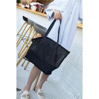 包包新款夏网格镂空帆布单肩包女包大容量购物袋沙滩包 黑色 中