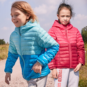 探路者童装秋冬新款男童女童拼接超轻薄带帽子羽绒服