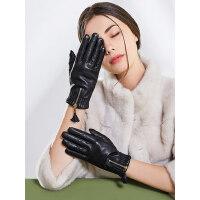 韩版羊皮真皮手套女士户外触屏加绒加厚防寒骑行开车薄款显瘦防滑