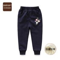 BINPAW儿童棉裤 冬装2018新款洋气女中大童针织收口运动加绒长裤
