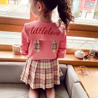女童套装裙春装儿童学院风格子套裙小女孩两件套