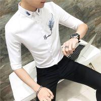 夏季时尚韩版修身短袖衬衫男士潮流七分袖衬衣青年百搭发型师寸衣