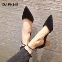 达芙妮高跟鞋女2021新款夏粗跟尖头一字扣低跟单鞋仙女包头女鞋