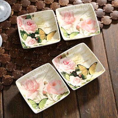 Evergreen爱屋格林调料碟骨碟四方形味碟子陶瓷日式餐具调味碟