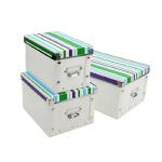 多功能金属边环保PP有盖收纳盒整理盒三件套(多色随机)