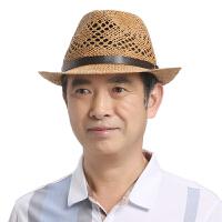 中老年人夏季帽子男士礼帽爵士帽中年爸爸夏天户外遮阳帽老人草帽