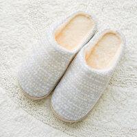 棉拖鞋女可爱月子防滑半包跟厚底素色室内家用保温暖情侣拖鞋