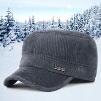 秋冬季男士休闲平顶帽灯芯绒中老年户外护耳加厚保暖鸭舌帽子