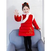 冬装洋气女孩中国风外套棉袄红色棉衣儿童女童拜年服