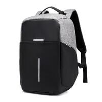 男士双肩包旅行多功能防盗15.6寸电脑包英伦书包大学生商务背包男 黑灰色撞色