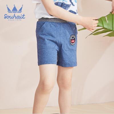 【3折价:26.7元】水孩儿童装儿童三分针织短裤男童短裤运动短裤 男童短裤 运动短裤
