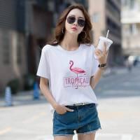 夏装新款印花白色短袖t恤女韩范宽松棉半袖体恤ins超火上衣