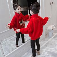 冬装加绒羊羔绒红色上衣小女孩加厚儿童毛毛外套女童卫衣