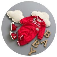 婴儿哈衣冬季加厚新生儿衣服秋冬0-1岁男宝宝潮服开衫外出服抓绒3