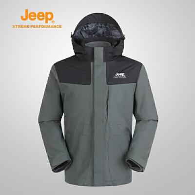 【特惠价】Jeep/吉普 男士户外防风防水三合一冲锋衣J662011406 防风野营 防风防水 立体裁剪