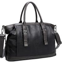 新款英伦商务手提包男横款真皮休闲单肩包斜挎包时尚旅行韩版潮男包包新品 黑色