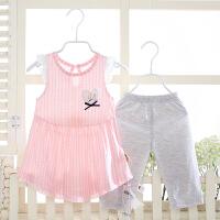 女童裙子女宝宝夏季裙子七分裤儿童夏季短袖套装外出服 72275 粉色
