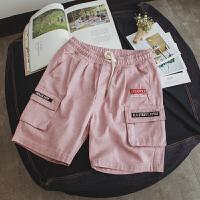 夏季新款男士骚粉色牛仔短裤青少年个性多口袋工装五分裤