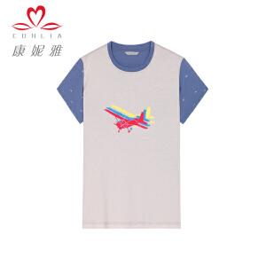 康妮雅夏季新款男装 印花撞色薄款上衣男短袖棉质T恤