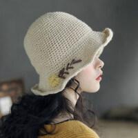 可折叠盆帽钩针羊毛混纺休闲文艺小雏菊毛线帽子小沿渔夫帽女柔软