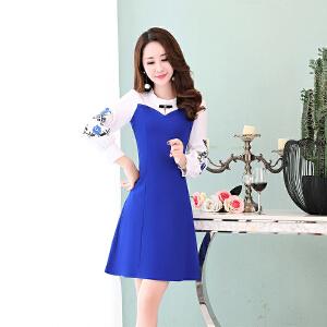 秋季裙子女2018新款韩版中长款印花长袖时尚修身显瘦秋天连衣裙女
