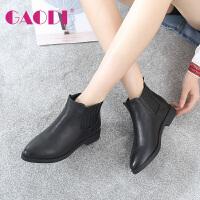高蒂秋冬新款短靴女欧美短筒靴子头层牛皮低跟尖头切尔西靴女