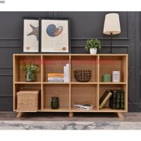 矮书柜北欧原木色木柜书架简约现代客厅木格子架收纳柜子定做带门 带门木拉手 1.4米以上宽