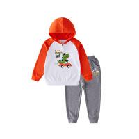 【2件3折价:87】小猪班纳童装男童套装宝宝连帽长袖卫衣运动裤春秋新款儿童两件套