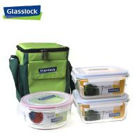 三光云彩glasslock钢化玻璃饭盒保鲜盒便当盒微波炉饭盒套装3件套GL36-A便当盒