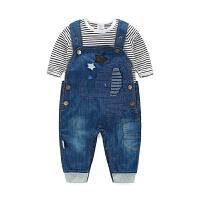 新款春秋婴儿宝宝长袖爬服 新生儿纯棉牛仔背带裤连体衣套装潮流