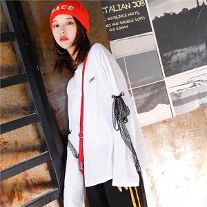 七格格白色长袖t恤2018新款打底衫女宽松bf蕾丝圆领百搭韩版学生