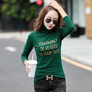 秋冬新款女装韩版修身字母印花T打底衫高领长袖女T恤