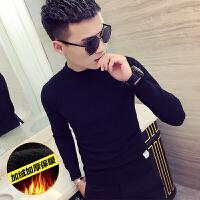 加绒长袖t恤潮男韩版修身百搭个性毛衣显瘦社会人精神小伙针织衫