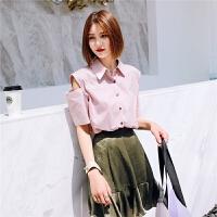 七格格衬衫女士新款短袖韩版宽松学生百搭漏肩衬衣夏季薄