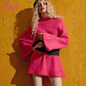 妖精的口袋笑而不语秋冬装新款圆领宽松落肩纯色保暖毛衣女