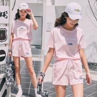 户外休闲运动套装女短袖短裤宽松纯棉跑步运动服韩版时尚两件套