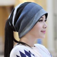帽子女秋冬天堆堆帽包头帽韩版百搭休闲情侣围脖帽子两用套头帽男
