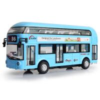 天鹰合金双层旅游巴士空调大巴城市公交车模型儿童回力声光玩具车新