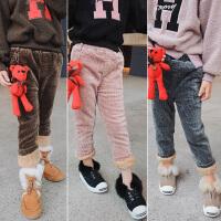 女童加绒棉裤 冬季2017新款童装儿童小脚裤灯芯绒休闲裤保暖裤子